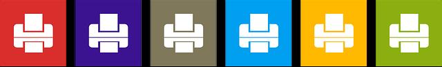 Druckicons in verschiedenen Farben, Quelle: Pixabay