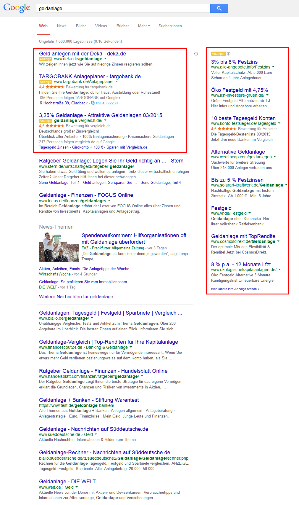 """Screenshot: Google Suche """"Geldanlage"""""""