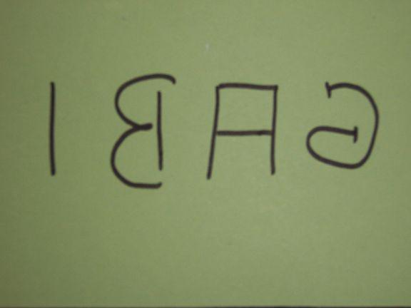 """""""Gabi"""" in Spiegelschrift"""